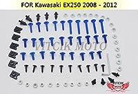 VITCIKカワサキ川崎EX250Rニンジャ2009 2010 2011 2012 2008 250 EX250R ZX250Rオートバイ用フルフェアリングボルトネジキットファスナーCNCアルミクリップ(ブルー&シルバー)