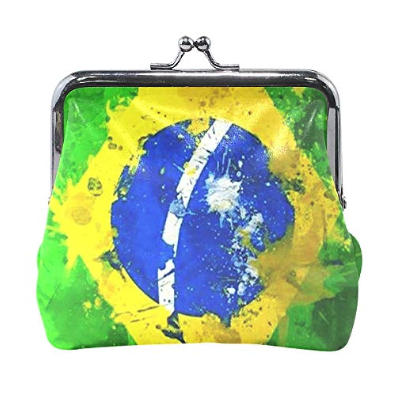 がま口 小銭入れ 財布 ブラジルの国旗 コインケース レザー製 丸形 軽量 人気 おしゃれ プレゼント ギフト 雑貨
