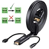 HDMI to VGA Cable with Audio - Tendak 6ft HDMI to VGA Cable Adapter Converter and Audio Out with External Micro USB Power Supply for Laptop PC Projector HDTV STB Support 1080P