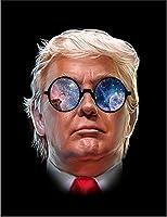 【FOX REPUBLIC】【ギャラクシーメガネをかけたトランプアメリカ大統領】 黒光沢紙(フレーム無し)A2サイズ
