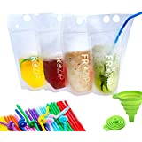 Deluxe 50-Pcs Disposable Drink Container Set By FroZip - Drink Pouches W/ Gusset Bottom & Reclosable Zipper For Cold & Hot Drinks - Non-Toxic, BPA & Phthalate Free - 50 Straws & Funnel Included
