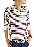 (アーケード) ARCADE 16color メンズ 春 夏 半袖 7分袖 Vネック ボーダー Tシャツ カットソー M かすれボーダー白×赤×紺(7分袖) (¥ 798)