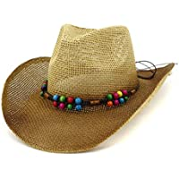 TX GIRL Western Cowboy Hat 2019 New Western Cowboy Hat Sun Hat Women Outdoor Beach Hat Visor Paint Color Beads Woven Rope Cowboy Straw Hat Novelty Party Costumes (Color : 2, Size : 56-58CM)