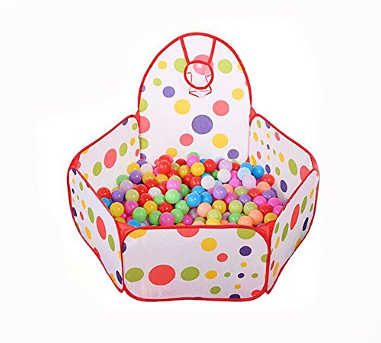 AxiEr 1.5M Kids Baby Polka Dot Cute Ocean Ball Pool Outdoor Indoor Game Play Toy Tent Hut Easy Fold Ball Pit Tent with Basketball Hoop by AxiEr