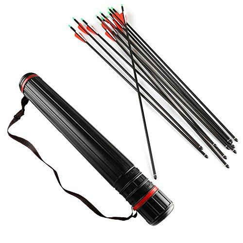 VERY100 アーチェリー完成矢  カーボン矢 炭素矢 7.6mm 30インチ 12本セット 矢筒付き  弓具  丸頭と尖頭の先端がランダム出荷