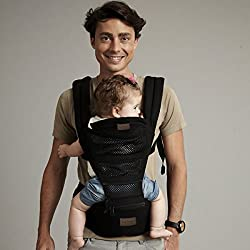 LaNova 抱っこ紐 赤ちゃんの姿勢とママの負担を軽減させるために作られた新しい抱っこひも (つかれにくい腰ベルトタイプ) ブラック