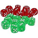 Fityle 約20個 6面 ダイス 骰子 D&D TRPGゲーム用 アクセサリー 全2選択 - 萌黄色+赤