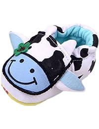 (ビグッド)Bigood 子供靴 キッズシューズ ふんわり ファーストトレーニング ベビーシューズ 室内靴 女の子 男の子 靴 ソフトソール 可愛い乳牛柄 12cm ブルー