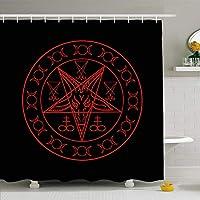 Secrets Red Sigil Wiccan Cross Sulphur Triple Goddess Mysticism Pentagram Antichrist Atheist Aztecフック付きプリント防水シャワーカーテン48×72インチ