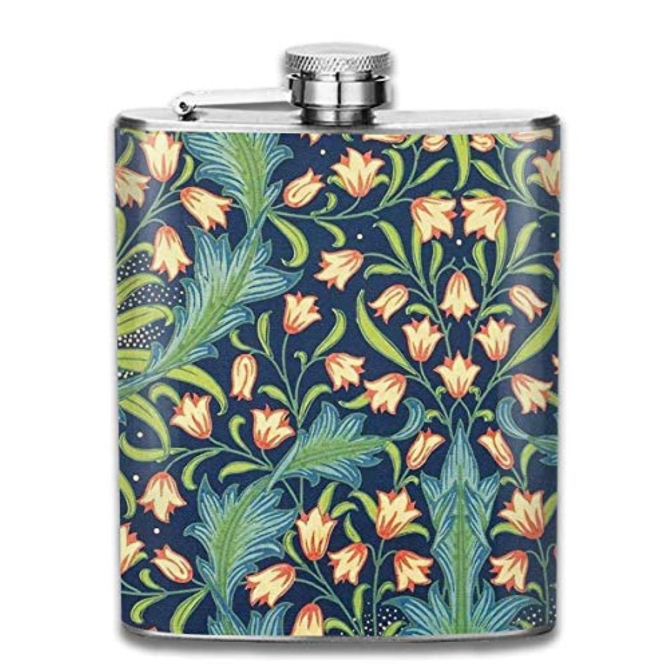 危険を冒します成功考古学春の花フラスコ スキットル ヒップフラスコ 7オンス 206ml 高品質ステンレス製 ウイスキー アルコール 清酒 携帯 ボトル