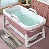 Adult Bathtub Portable Collapsible Bathtub,Household Large Tub Folding Shower Tray, Comfortable Folding Adult Bathtub Barrel Wear-Resistant Non-Slip Double Drain Ergonomics Portable Swimming(F)