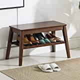 Shoes Rack Bench Newvante Bamboo Shoe Organizer Free Standing Storage Shelf Side End Table for Entryway Hallway Living Room Bedroom-Walnut-65cm