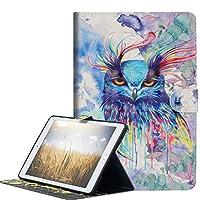 A-Beauty iPad 9.7 2018 / 2017 ケース、3Dかわいい柄 高級 PUレザー開閉式 保護カバー スタンド機能スマートカバー財布型 手帳型 耐衝撃 (3D水彩フクロウ)