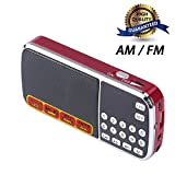 CSMARTE 多機能FM/AMポケットラジオ MP3プレーヤー 拡声器 ラッパ の機能付き 音楽が輸入する糸 USD充電できる (088 赤)
