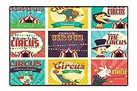 Bath Rugs Circus キャラクター トレーニング動物付き 強力 男性 台所 アーティスト レトロ ショーデザイン 非毒性 滑り止め リバーシブル 防水 4フィートx5フィート 6'x9' /W180cm x L270cm DT-QY-0901-04795K180xC270