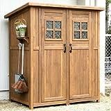 木製収納庫 Potager ポタジェモザイク 木製物置小屋 (高さ177cm×幅156cm×奥行き106cm) ライトブラウン