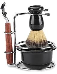 シェービングキット 4-in-1 ひげ剃りツールセット マニュアルスタンドホルダー ウェットシェービングキット ステンレススチール