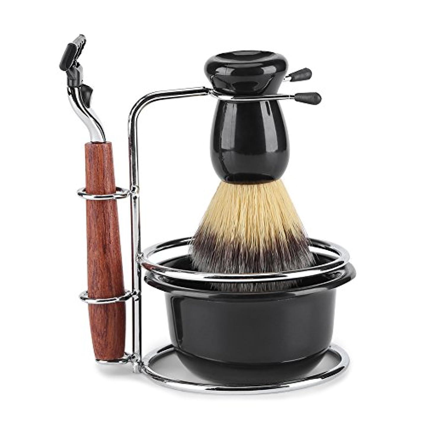 セブン気性スキルシェービングキット 4-in-1 ひげ剃りツールセット マニュアルスタンドホルダー ウェットシェービングキット ステンレススチール