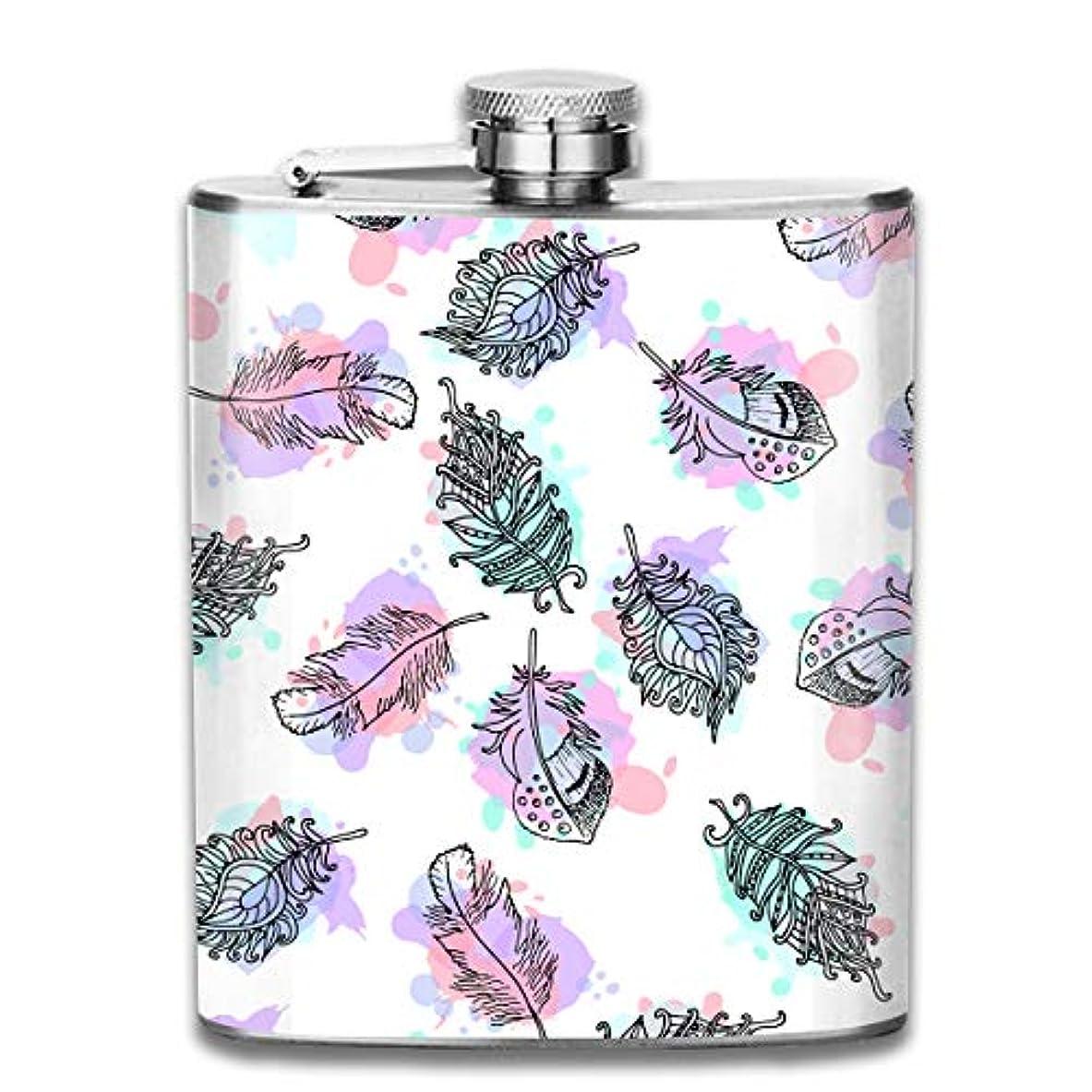 ハードリンググリーンバック旋律的綺麗な葉 フラスコ スキットル ヒップフラスコ 7オンス 206ml 高品質ステンレス製 ウイスキー アルコール 清酒 携帯 ボトル