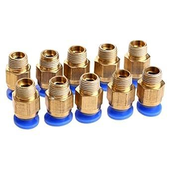 5個入り 3Dプリンタ用 空気圧コネクタ クイック継手 真鍮 PTFEチューブに固定作用 ワンタッチ継手 6mm