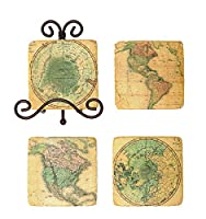 Coasters with Vintage Map Images by Creative Co-op