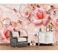 Weaeo バラの蝶の花3Dの壁紙のリビングルームのソファーテレビの壁のベッドルームのキッチンの壁紙家のインテリアのカフェの壁画-150X120CM