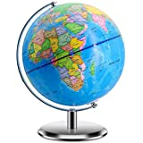 "World Globes for Kids - Educational World Globe with Stand Adults Desktop Geographic Gobles Discovery World Globe Educational Toy for Children - Geography Learning Toy Larger Size 12"" Blue"