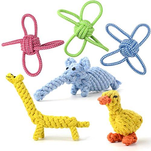 犬おもちゃ 噛むおもちゃ Whoobee 犬のロープおもちゃ 6個セット ペット犬 インタラクティブ玩具 丈夫 ストレス解消 清潔 小中型犬に適用