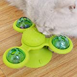 OiM8 Interactive cat Suction Cup Windmill Spinning Turntable Toy (Green)