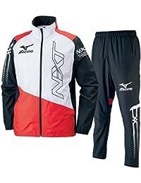 ミズノ(MIZUNO) N-XT ウィンドブレーカーシャツ&パンツ 上下セット(ブラックチャイニーズレッド) U2ME7510-96-U2MF7510-96