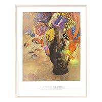 A.P.J. ポスター額装(印象派・巨匠) オディロン・ルドン フルールスダンスウンベイスノワール A1682 グラーノフレームオフホワイト