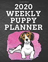 """2020 WEEKLY PUPPY PLANNER: 8.5""""x 11"""" 115 Page BEAGLE Dog Lover Gift with Pink on Black Back Academic Year At A Glance Planner Calendar With To-Do List and Organizer And Vertical Dated Pages Doggo Laying down on a Splash of Pink. (Beagle 2020 Planners)"""