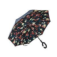 大きい逆折り式傘 メンズ レディース 逆さ傘 逆開き C型手元 撥水 耐風 遮光遮熱 UVカット 内部パターン付き 自立可能 晴雨兼用 hjuns-Wu