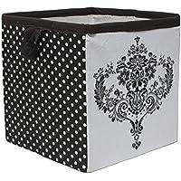 Bacati Classic Damask Storage Box, White/Black, Small by Bacati