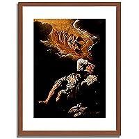 Feti, Domenico,1589-1623「The Dream of Jacob's Ladder.」インテリア アート 絵画 プリント 額装作品 フレーム:木製(茶) サイズ:L (412mm X 527mm)