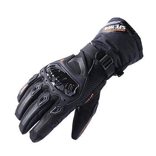 グローブ バイク 耐磨耗性 換気性 スマートフォン対応 滑り止め 冬 長指 (ブラック02, L)