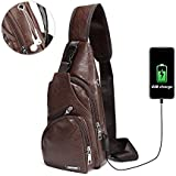 CHARMINER Sling Bag, Men Shoulder Chest Backpacks Fashion Crossbody Bag Rucksack Outdoor Hiking Travel Multipurpose Daypacks with USB Charging Port