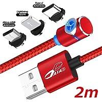 DAIAD 2m L字型 強力マグネット 360度回転充電ケーブル Type-C Micro USB Lightning 三端子対応 3in1 タイプC/マイクロUSB/ライトニング Android iPhone磁石 着脱式 防塵 1本4役 ケーブルのぬきさし不要 2mロングケーブル寝転がってスマホをらくらく充電! (レッド)