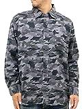 AIRWALK(エアウォーク) 大きいサイズ シャツ メンズ 長袖 迷彩 ネルシャツ ミリタリー 起毛 3L ブラック