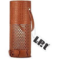Echo Plus キャリーケーススリーブ(エコー プラス)LefRight 刺繍スタイル ビーガン レザー プロテクティブ スキン ストレージ カバー Alex Echo トップハンドル付き トラベル バッグ (褐色)