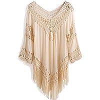 shangke Women's Crochet Fringe Boho Bohemian Blouse Top Frayed Blouse Top