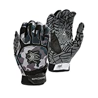 (Adult Small, Black/Charcoal/Grey) - Spiderz WEB Batting Gloves with Silicone Spider Web Grip
