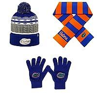 NCAA Florida Gators牽引ニットグローブAltitudeビーニー帽子とストライプラグビースカーフ3パックバンドル