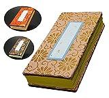 京仏壇はやし 過去帳 並金襴( 紺 ) 4寸 日付入り ◆縦 約12cm 横 約5cm 厚み 約2cm