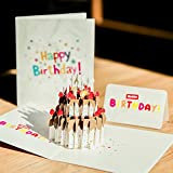Paper Spiritz ケーキ バースデー カード 立体 飛び出す メッセージカード 誕生日カード