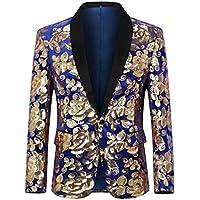 Cloudstyle Mens Sequin Floral Dress Suit Jacket 1 Button Tux Blazer Sport Coat