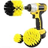 Drill Brush Attachments - Bathroom Kitchen Cleaning Supplies Set - Tile Grout Baseboard Tub & Shower Hard Water Cleaner Spin