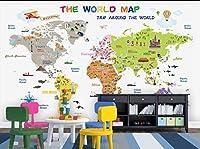 Mbwlkj キッズ壁紙漫画世界地図写真の壁紙壁画子供部屋3D自己接着壁紙-300cmx210cm