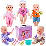 YIQIHAI 5 Sets 12 Inch and 13 Inch Baby Doll Clothes New Born Baby Outfits Cotton Clothing and Accessories Doll Bottle and Tableware Birthday Gift for Kids