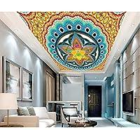 Lcymt 3D立体天井壁画カスタム壁紙金属パターン3D天井3D壁紙リビングルーム3Dモダンフォト天井-200X140Cm